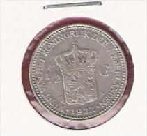 NEDERLAND 1/2 GULDEN 1922 AG - [ 3] 1815-… : Royaume Des Pays-Bas
