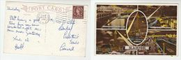 1955 Blackpool GB Stamps COVER (postcard BLACKPOOL Illuminations Tower, Beach) - Blackpool