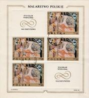 POLOGNE - TIMBRE N° 1791 EN FEUILLET DE 4 + 2 VIGNETTES  OBLITERE-  ANNEE 1969