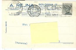 REJNA,BOLOGNA, CARTOLINA COMMERCIALE VIAGGIATA 1928, POSTE BOLOGNA TARGHETTA CHININO,LUGO ,RAVENNA - Bologna