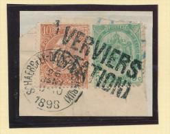 Griffe D´Origine / De Gare Sur Timbre-Poste Fine Barbe Et Armoirie S/ Fragment  - VERVIERS STATION  -- WW174 - Poststempel