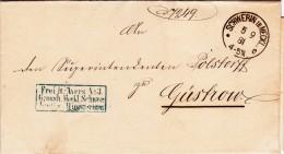 Alten Brief 1881 Stempel Schwerin in Meckl. und Gustrow Waffen Friedrich Franz Grosherzog Frei Nr.3 Minesterium