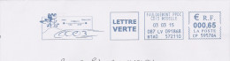EMA RED METER STAMP ABSENDER FREISTEMPEL AFS LORRAINE MOSELLE TRAIN TRENO ZUG TGV ICE DUREE TEMPS PARIS FORBACH TOUR - Trains