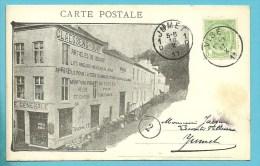 """83 Op Geillustreerde Kaart """"CLAESSENS-DURY / Articles De Menage - Munitions Pour Peche Et Chasse...."""" Met Stempel VISE - 1893-1907 Coat Of Arms"""