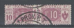 REGNO 1914 PACCHI POSTALI NODO SABAUDO 10 LIRE USATO - Pacchi Postali