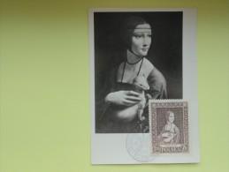 CARTE MAXIMUM CARD DAME A L'HERMINE PAR  LEONARD DE VINCI POLOGNE - Arts