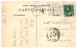 026  France St Nazaire Postmark From Montreal Canada 1915 - France