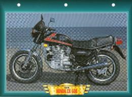 1978 HONDA CX 500   /   FICHE TECHNIQUE MOTO FORMAT A4  DÉTAILS CARACTÉRISTIQUES TBE - Motor Bikes