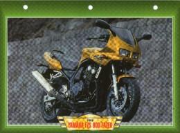 1998 YAMAHA FZS 600 FAZER   /   FICHE TECHNIQUE MOTO FORMAT A4  DÉTAILS CARACTÉRISTIQUES TBE - Motor Bikes