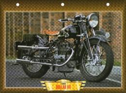 1933 DOLLAR V4  /   FICHE TECHNIQUE MOTO FORMAT A4  DÉTAILS CARACTÉRISTIQUES TBE - Motor Bikes