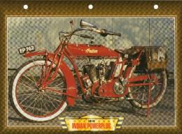 1916 INDIAN POWERPLUS /   FICHE TECHNIQUE MOTO FORMAT A4  DÉTAILS CARACTÉRISTIQUES TBE - Motor Bikes