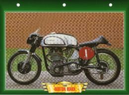 1962 NORTON MANX  /  FICHE TECHNIQUE MOTO FORMAT A4  DÉTAILS CARACTÉRISTIQUES TBE - Motor Bikes