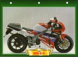 1999 HONDA RC 45   /  FICHE TECHNIQUE MOTO FORMAT A4  DÉTAILS CARACTÉRISTIQUES TBE - Motor Bikes