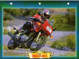 1998 HONDA CB 500 S   /  FICHE TECHNIQUE MOTO FORMAT A4  DÉTAILS CARACTÉRISTIQUES TBE - Motor Bikes