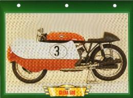 1957 GILERA  500     /   FICHE TECHNIQUE MOTO FORMAT A4  DÉTAILS CARACTÉRISTIQUES TBE - Motor Bikes