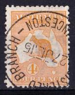 Australia 1913 Kangaroo 4d Orange 1st Wmk - LAUNCESTON July 1915 - Used Stamps