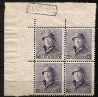 169 A Bloc 4  **  Cdf  Dépot 1920  + 30 - 1919-1920 Roi Casqué