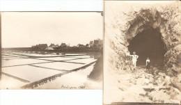 Lot De 2 Photographies Anciennes Du Pouliguen Et Guérande (44), Marais Salants + Grotte, Photos 1901, Moulin De Saillé - Orte