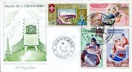 """FDC Du 03-11-1958,  4 Timbres """"UNESCO, Paris"""" (Vientiane, Laos) - Laos"""