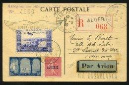 ALGERIE Carte Postale Par AVION 1° Service ALGER-CASABLANCA Direc Oblt EXPOSITION PHILATELIQUE INTle D'ALGER Afrt 2 Timb - Marcophilie (Lettres)