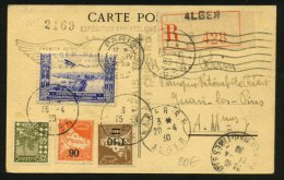 ALGERIE Carte Postale Par AVION 1° Service ALGER-CASABLANCA Direc Oblt ALGER R.P. ALGER Afrt 3 Timbres - Marcophilie (Lettres)