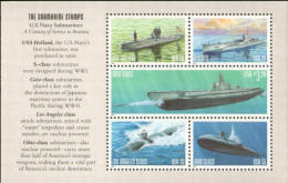 2000 USA Submarine Selvage Stamps S/s Sc#3377a Martial - Submarines
