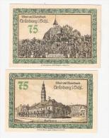 **notgeld   Grunberg 2 X 75 Pf  489.4/3+4 - [11] Local Banknote Issues