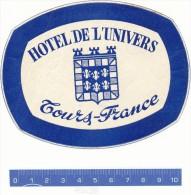 ETIQUETTE  -  Hotel De L'Univers - Tours - Hotel Labels