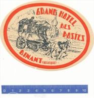 ETIQUETTE  -  Grand Hotel Des Postes - Dinant - Hotel Labels