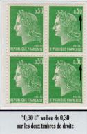 """MARIANNE DE CHEFFER - 0,30F Vert Typo - """"0,30U"""" Au Lieu De 0,30 Sur Les 2 Timbres De Droite - 1967-70 Marianne (Cheffer)"""