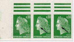 MARIANNE DE CHEFFER - 0,30F Vert Typo - Grain De Beuté Sur Les 2 Timbes De Droite Tenant à Normal - 1967-70 Marianne Of Cheffer