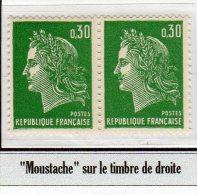 """MARIANNE DE CHEFFER - 0,30F Vert Typo: """"moustache"""" Sur Le Timbre De Droite - 1967-70 Marianne Of Cheffer"""