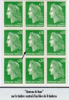 "MARIANNE DE CHEFFER - 0,30F Vert Typo: ""Anneau De Lune"" Timbre Central - 1967-70 Marianne Of Cheffer"
