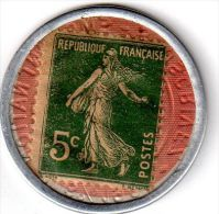Timbre monnaie 5 centimes vert sur fond couleur cuivre - Cr�dit Lyonnais - Emprunt 6% 1920