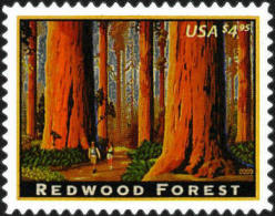 2009 USA $4.95 Priority Mail California Redwood Forest Stamp #4378 - Arbres
