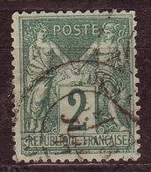 FRANCE - 1876 - YT  N° 74  - Oblitéré  - N / U - 1 Dent Courte - 1876-1898 Sage (Type II)