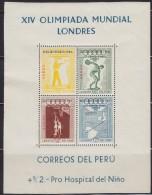 3023(1). Peru, 1957, Melbourne Olympic Games, Block, MNH (**) Michel Block 2 - Peru