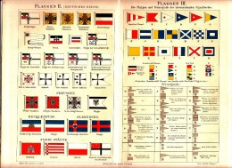 Ca 1890 MARINE FLAGS LONDON NEW YORK LINE SIGNAL Antique Chromolithograph Print - Old Paper