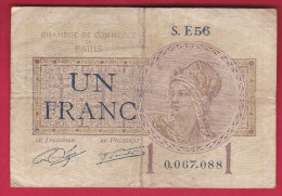 CHAMBRE DE COMMERCE PARIS 1 FRANC DE 1922  REF MS 50315