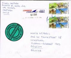 Chile 2006 Postal Cover Santiago - Schepdaal (Belgium) Animals - UPAEP 2003 - Timbres