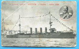 """AVR036, Le Croiseur Anglais """" ANTRIM"""" à Anvers, Juillet 1906, S. M. Edourd VII, England, 1 Pli, Non Circulée - Guerra"""