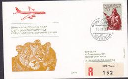 Liechtenstein Registered Recommandé VADUZ Label 1968 1st Flight Premier Vol ZÜRICH GENEVE-JOHANNESBURG Lion Löwe Lion - Poste Aérienne