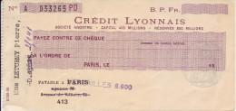 Chèque Crédit Lyonnais, Année 40. - Cheques & Traverler's Cheques