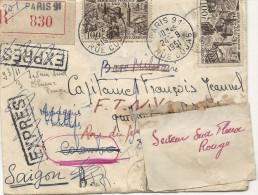 LETTRE REEXPEDIEE COLOMBO SAIGON A UN MILITAIRE - Marcophilie (Lettres)