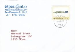 """1310c: Personalisierte Marke Aus Österreich """"Esperanto.net"""" Gest. 27.02.2006 PA 1150 Wien - Esperanto"""