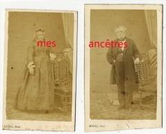 Vers 1865-2 CDV Couple De Notables Photographiés Par MOREL, élève De Disdéri Porte De Neuilly à Paris Les Ternes - Fotos