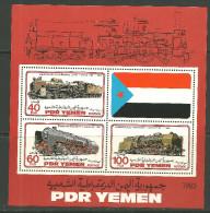 Yémen Bloc De Feuille Neufs Sans Charniére, Avec Petit Taches, MINT NEVER HINGED LITTLE TONE, RAILWAY LOCOMOTIVES - Yémen