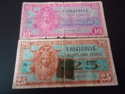 1954 USA MILITARY RARE 10 - 25 CENTS ( P M 31 - 32 )