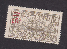 New Caledonia, Scott #134, Mint Hinged, Ship Surcharged, Issued 1924 - Unused Stamps