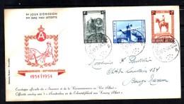 FDC Rodan 1954, Monument  Roi Albert 1er,  Yv. 938 / 940, Cote 85 €, - FDC